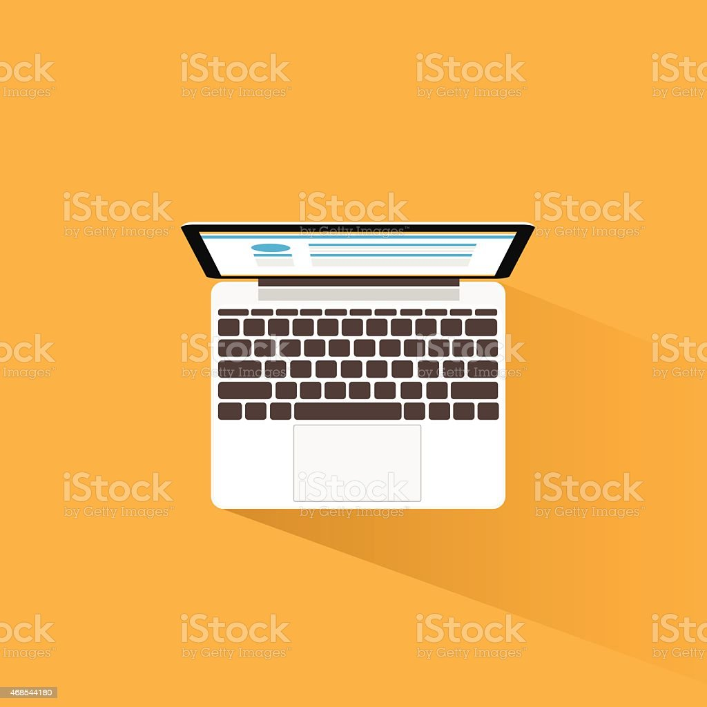 New Modern Laptop Computer Icon Flat Design vector art illustration