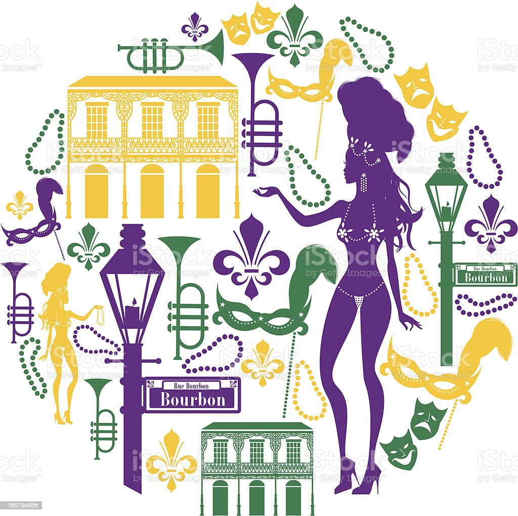 New Orleans Icon Montage vector art illustration