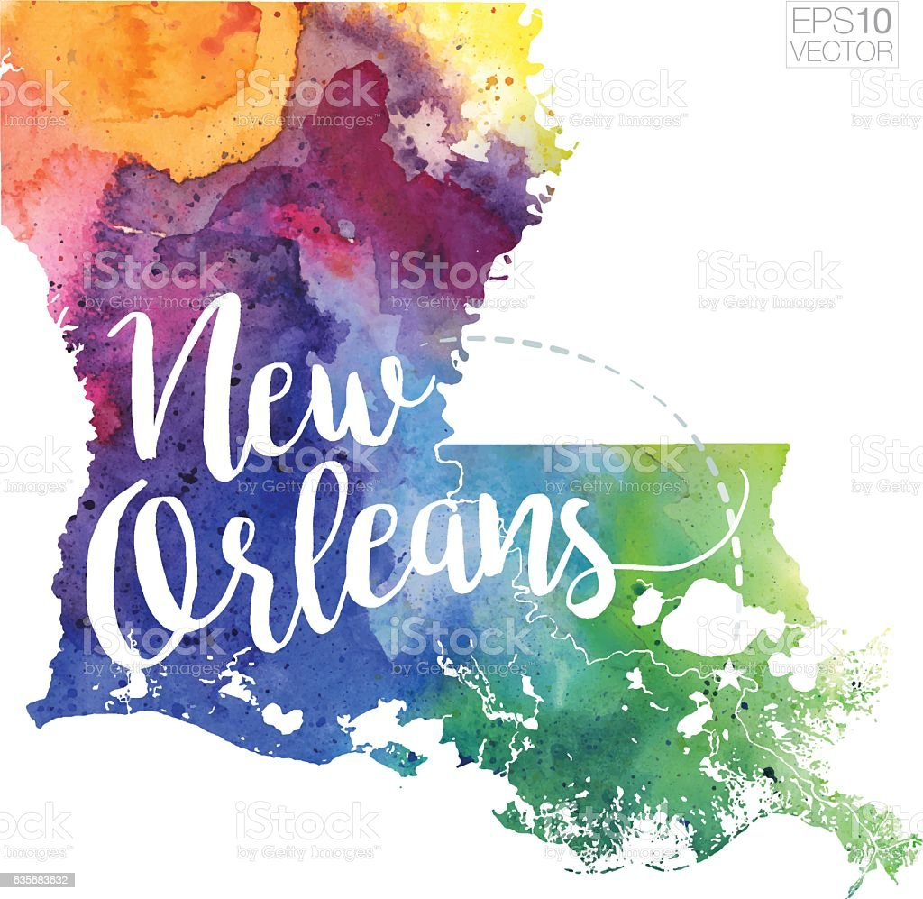 New Orleans, Louisiana Vector Watercolor Map vector art illustration