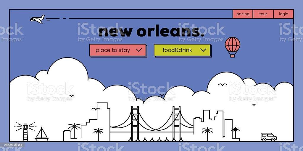 New Orleans Modern Web Banner Design with Vector Linear Skyline vector art illustration