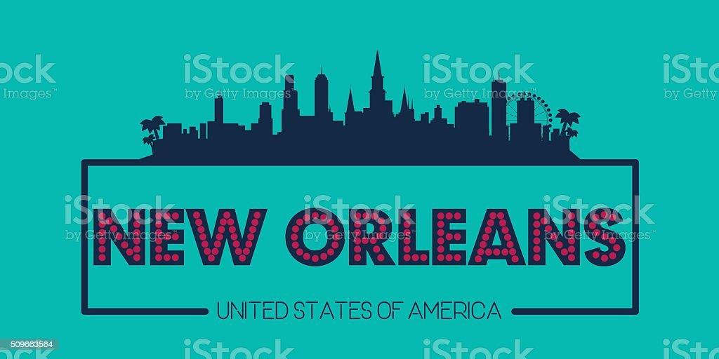 New Orleans skyline silhouette poster vector vector art illustration