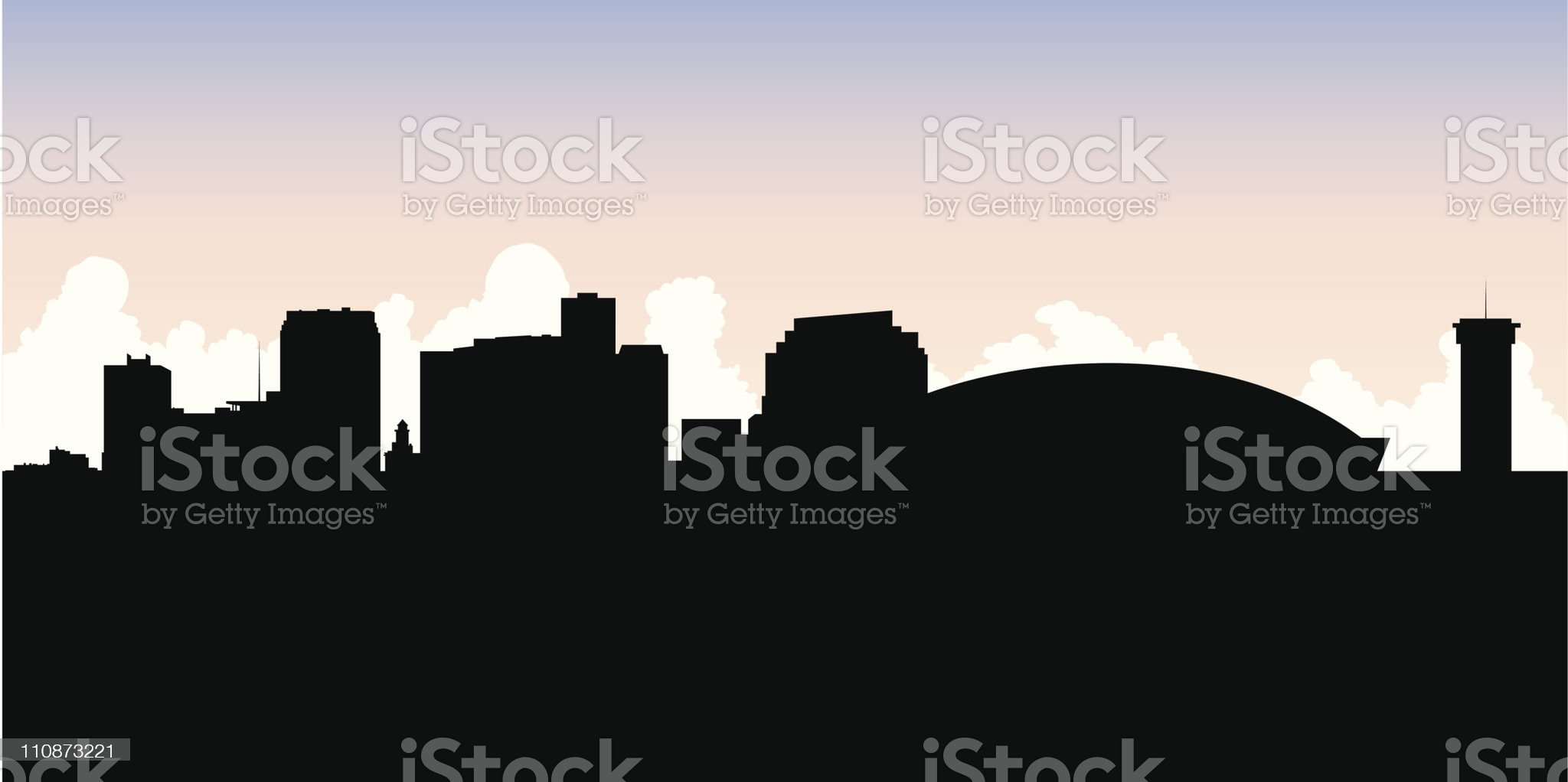New Orleans Skyline Silhouette royalty-free stock vector art