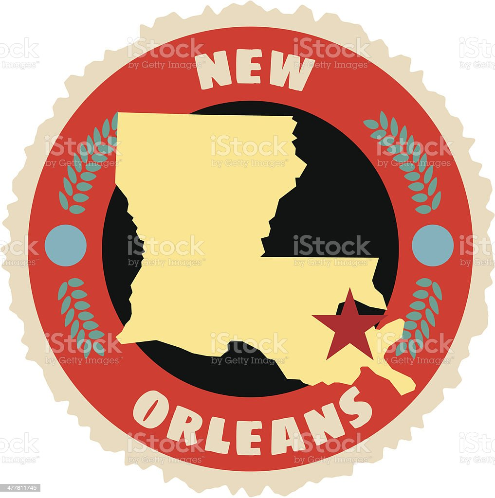 New Orleans travel sticker or luggage label royalty-free stock vector art