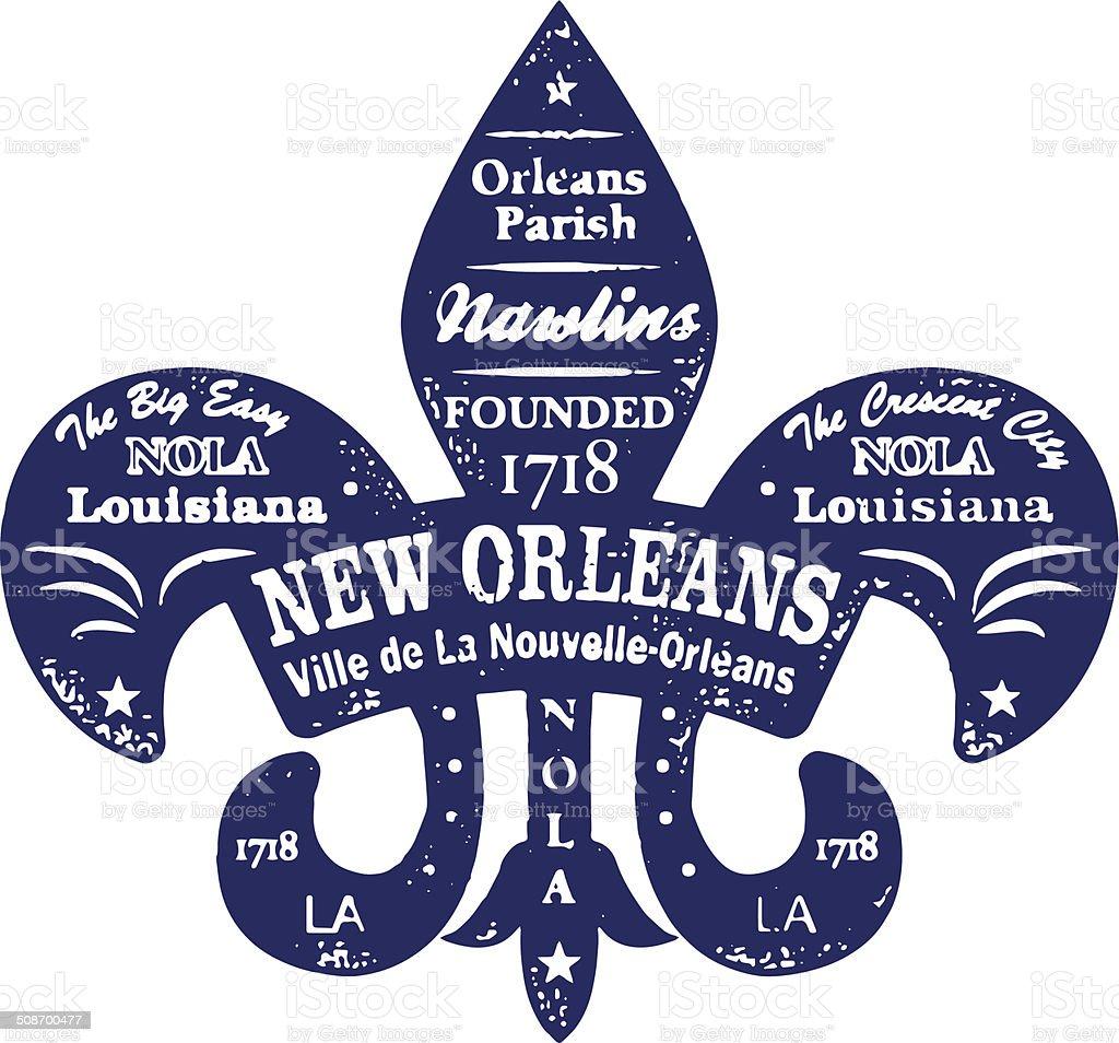 New Orleans Typo Stamp vector art illustration