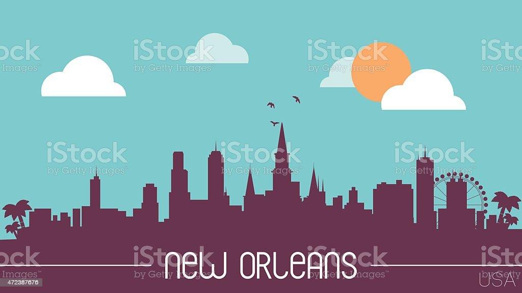 New Orleans USA skyline vector art illustration