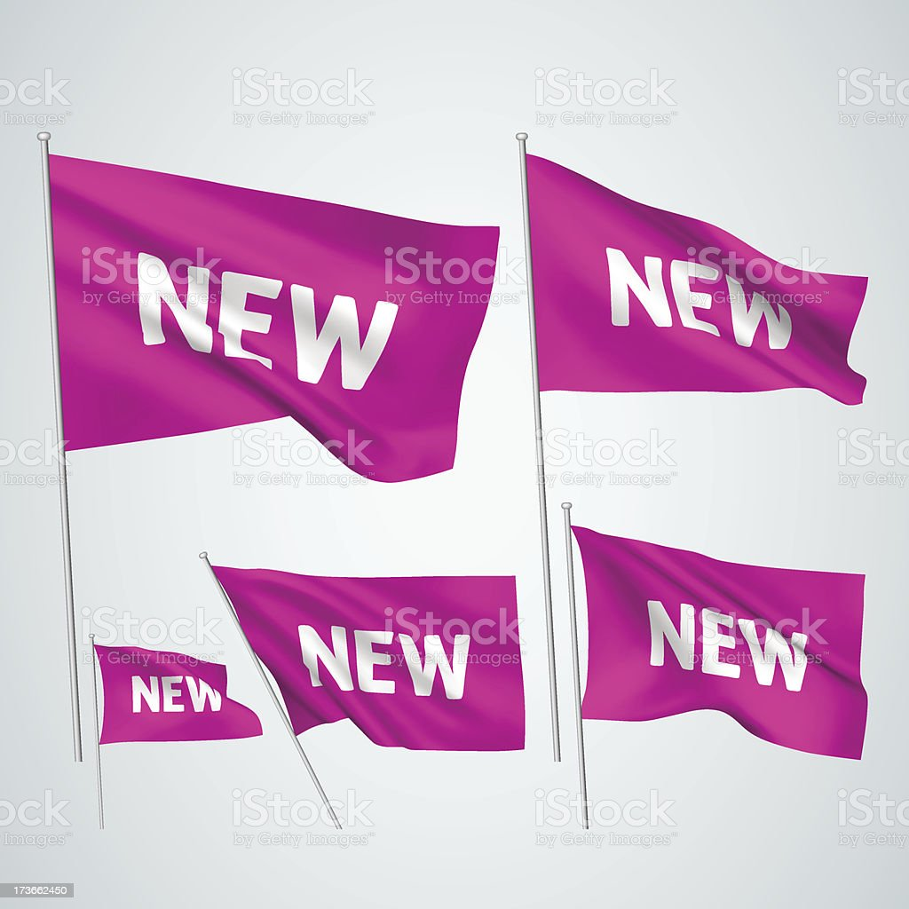 New - pink vector flags royalty-free stock vector art