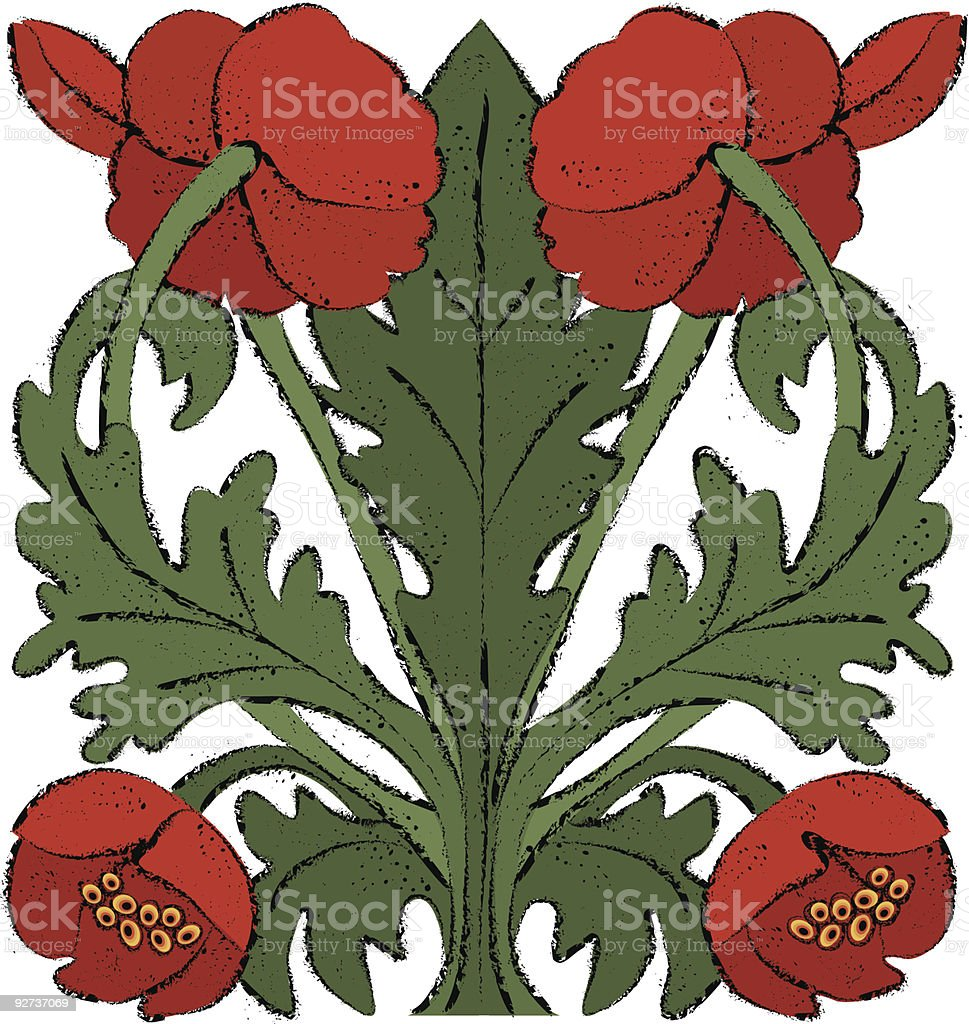 Nouveau Poppies royalty-free stock vector art