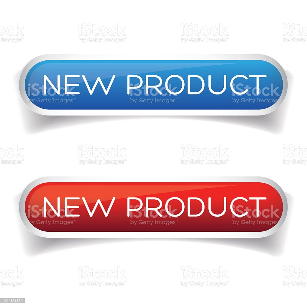 New product button set vector art illustration
