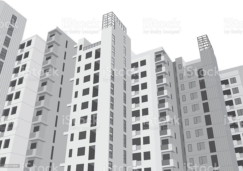 new residential housing vector art illustration