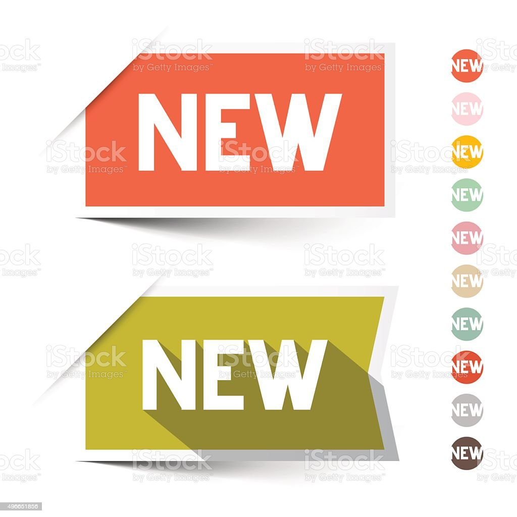 New Retro Paper Vector Labels - Stickers vector art illustration