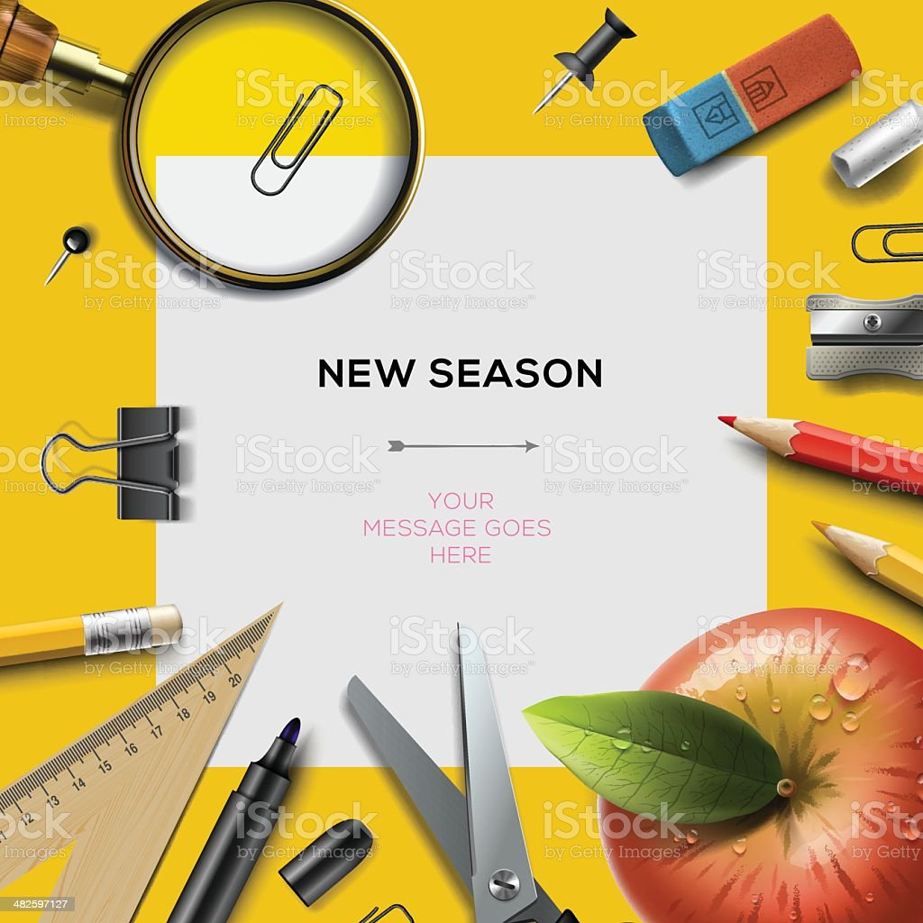 New school season template with office supplies vector art illustration