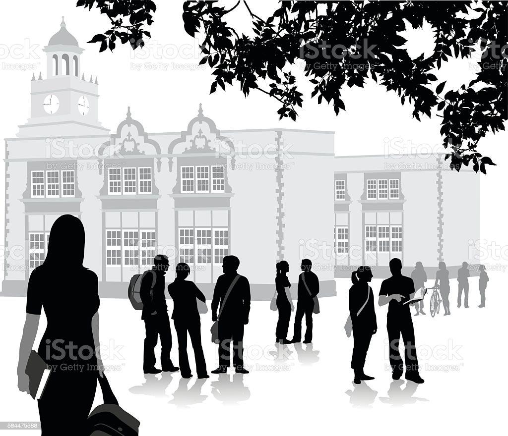 New Semester At Highschool vector art illustration