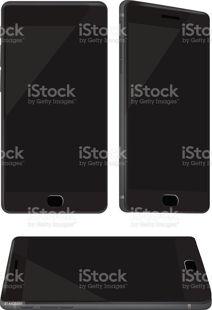 New Shiny Black Mobile Phone Isolated on White vector art illustration