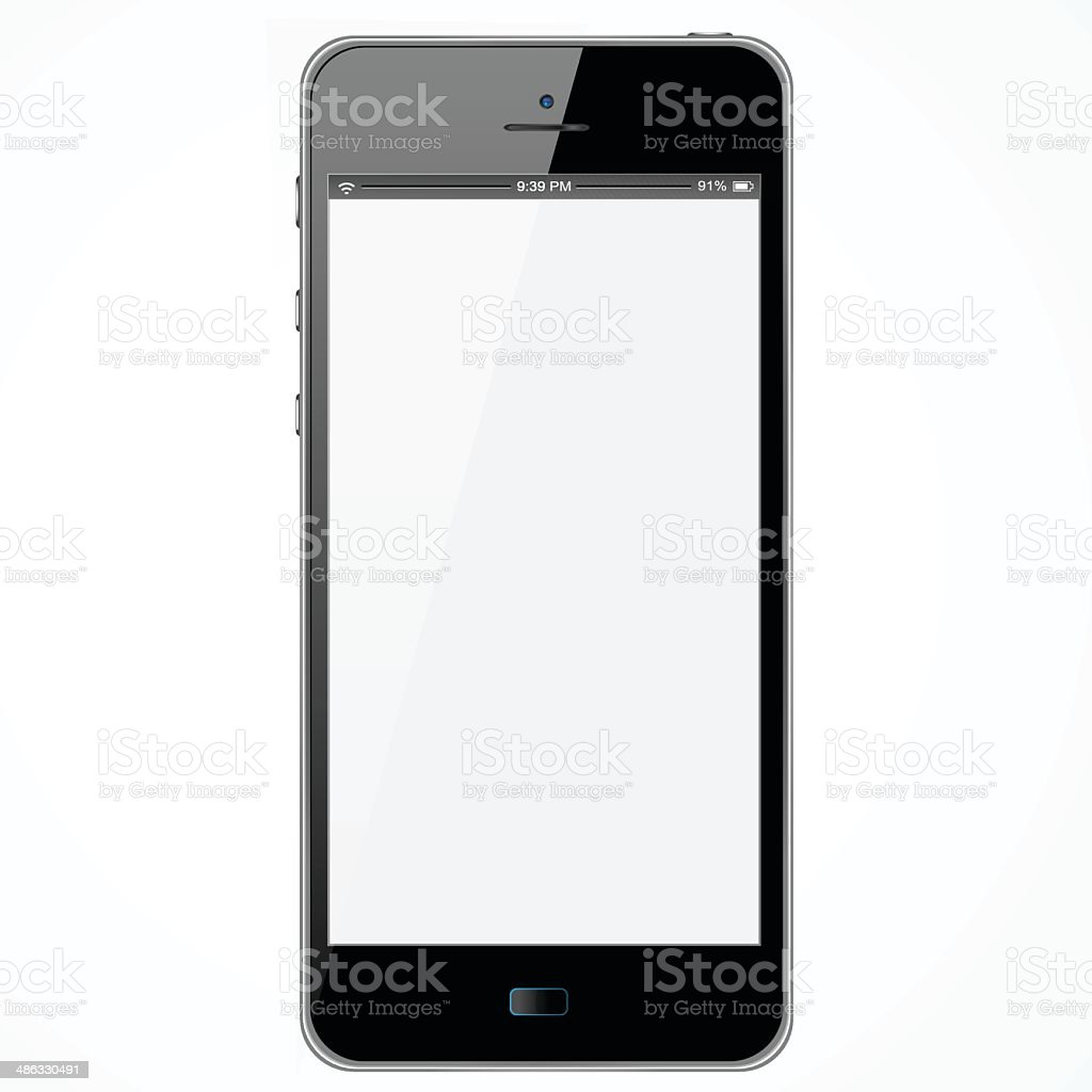 New Smartphone With White Screen vector art illustration