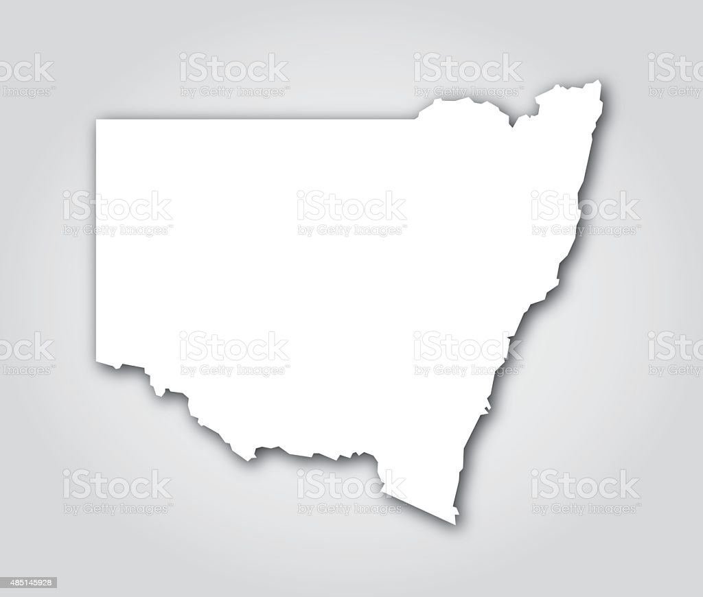 New South Wales Silhouette White vector art illustration