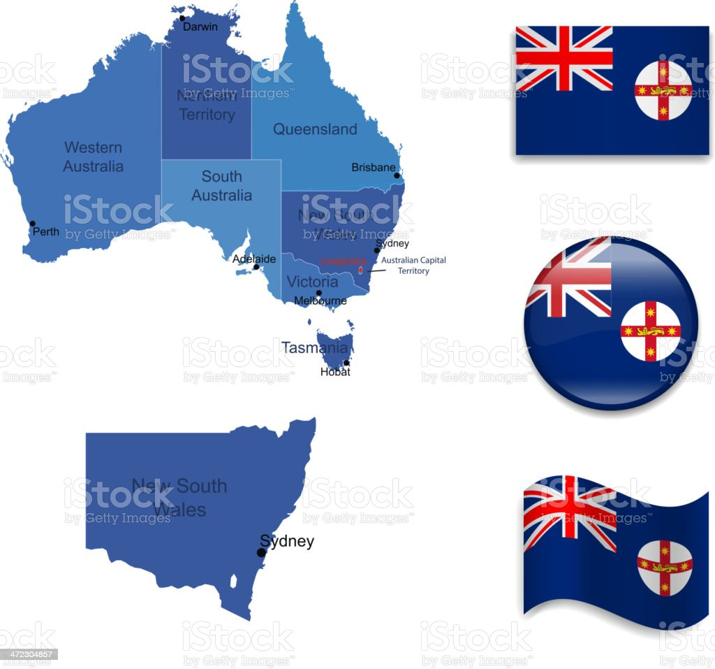 New South Wales state set royalty-free stock vector art