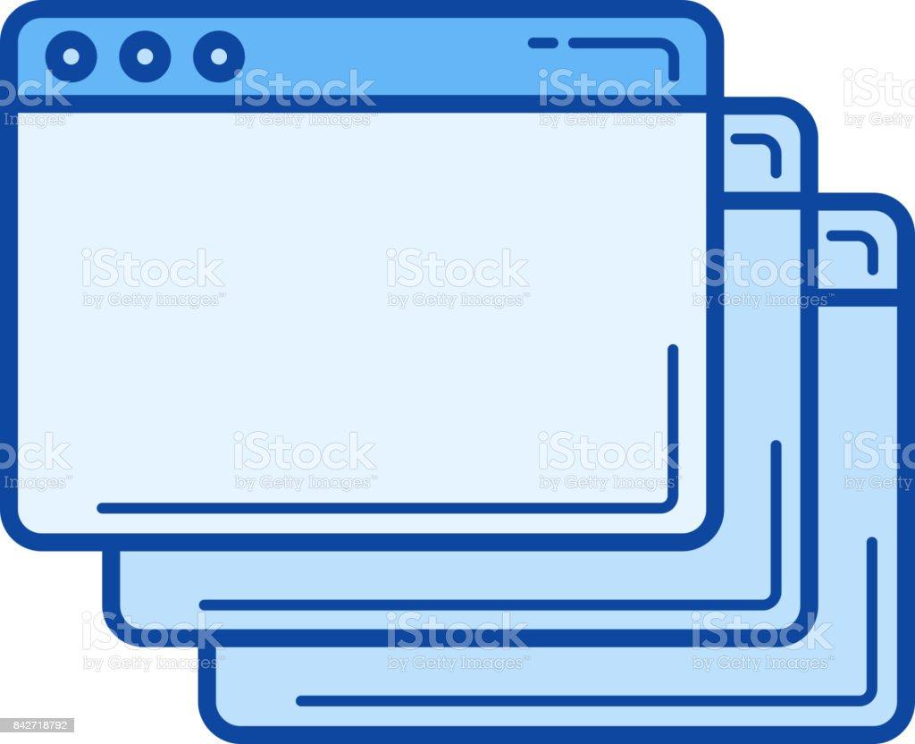 New tab line icon vector art illustration