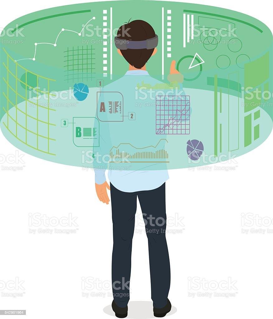 New technologies and on line shopping vector art illustration