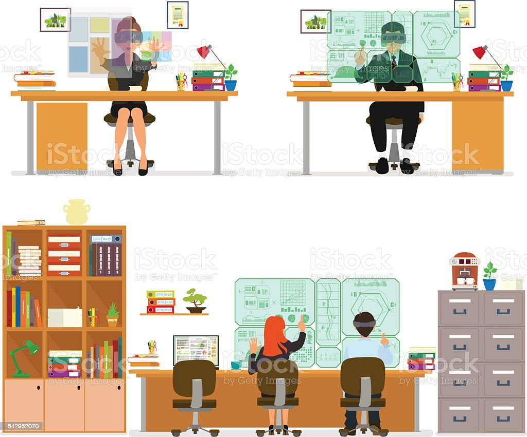 New virtual technologies vector art illustration