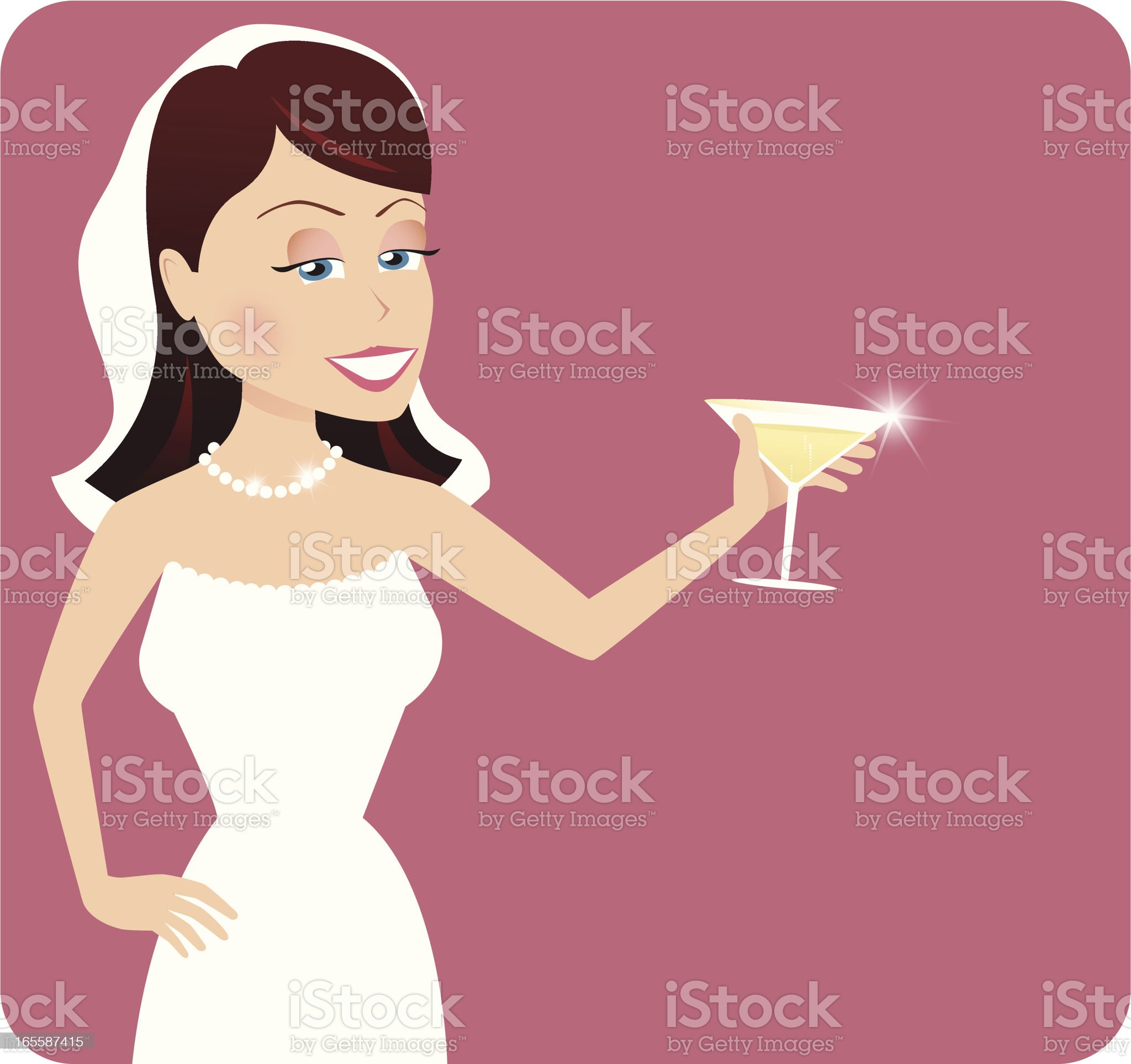 New wife making a wedding toast royalty-free stock vector art