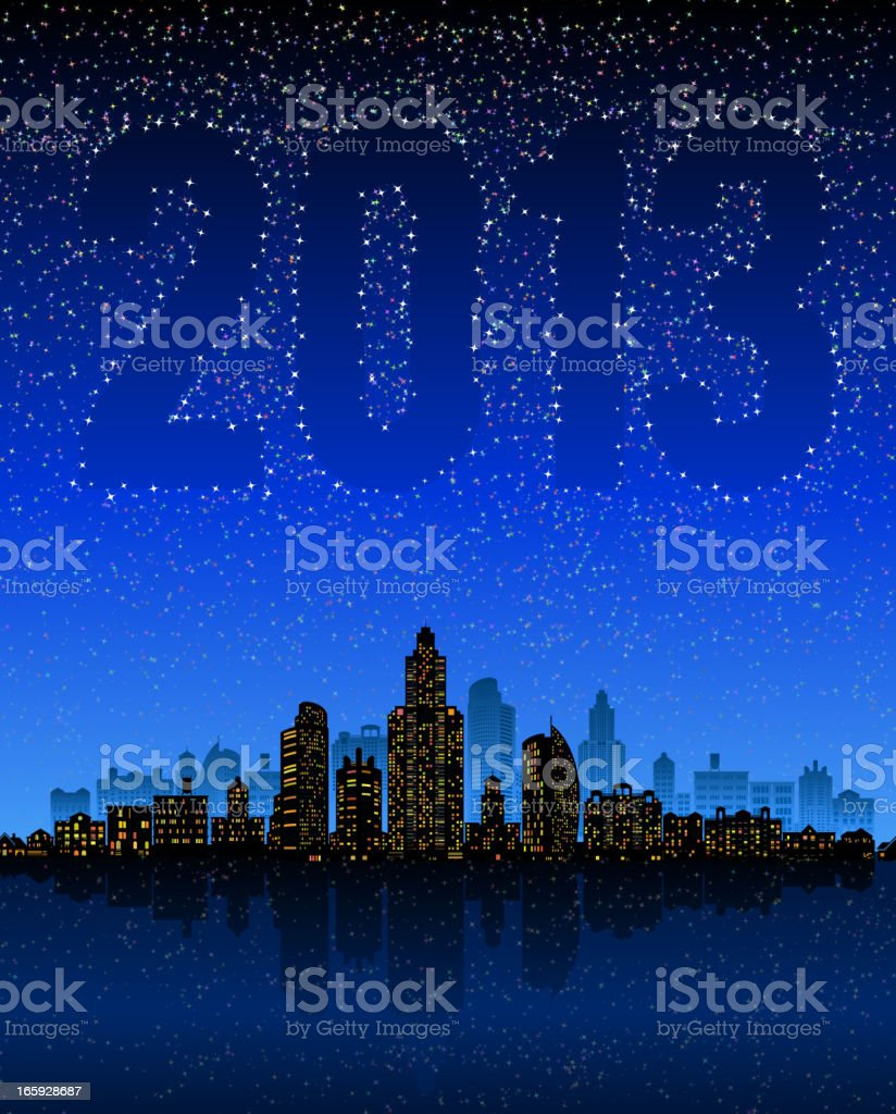 New Year 2013 Background with City skyline panoramic royalty-free stock vector art