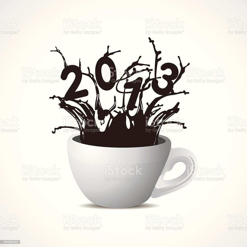 new year 2013 creative design with coffee cup royalty-free stock vector art