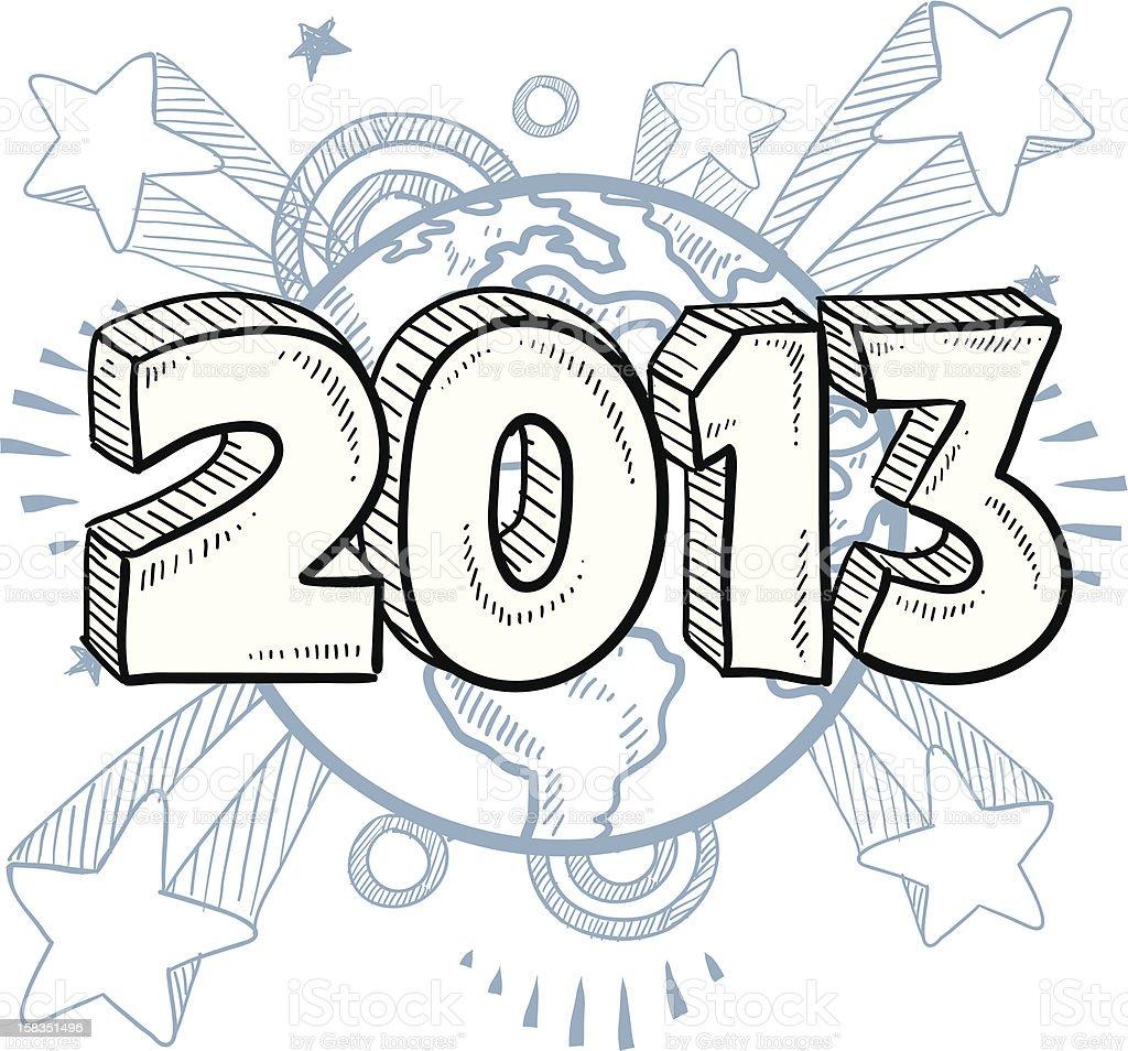 New Year 2013 pop sketch vector art illustration