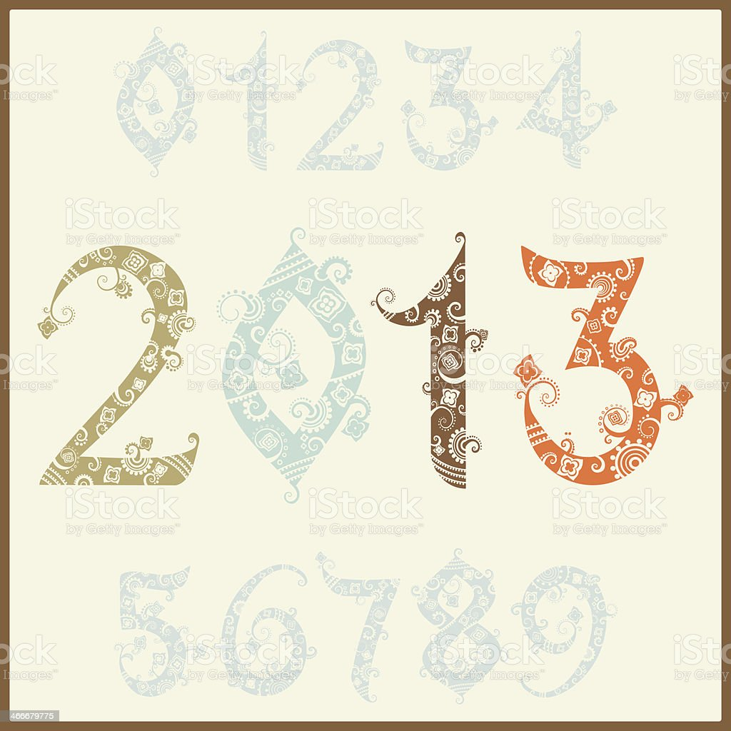 New year 2013 (two thousand and thirteen). vector art illustration
