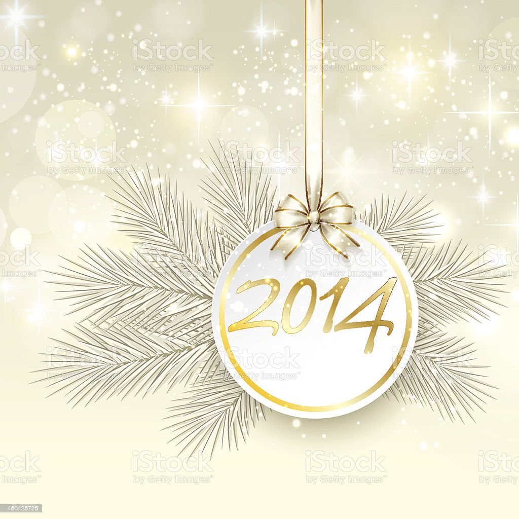 new year 2014 banner with ribbon and bow vector vector art illustration