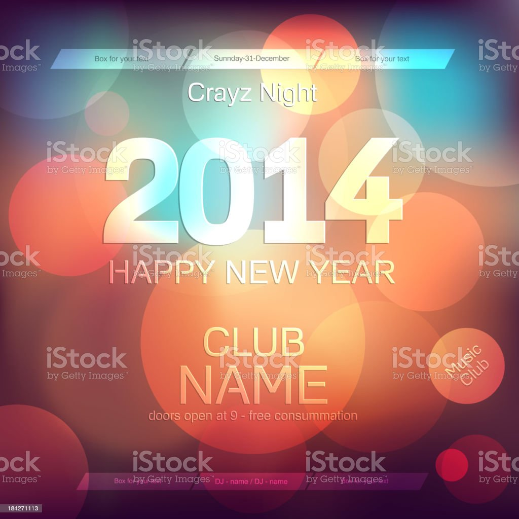 New Year 2014 .Flyer Template. Vector royalty-free stock vector art