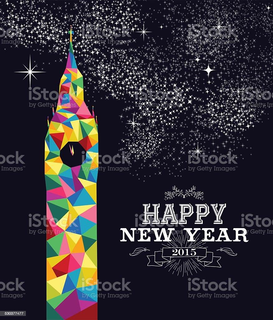 New year 2015 England poster design vector art illustration