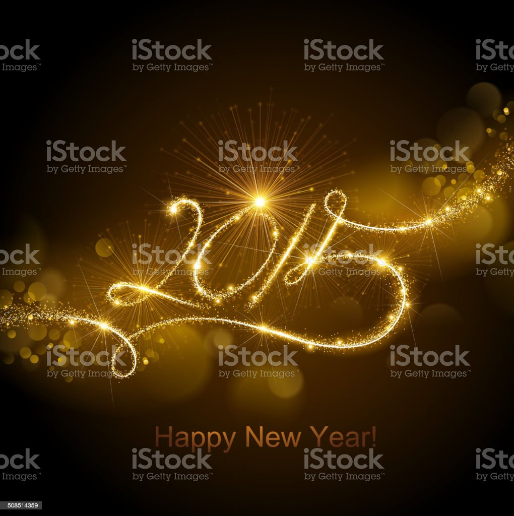 New Year 2015 fireworks vector art illustration