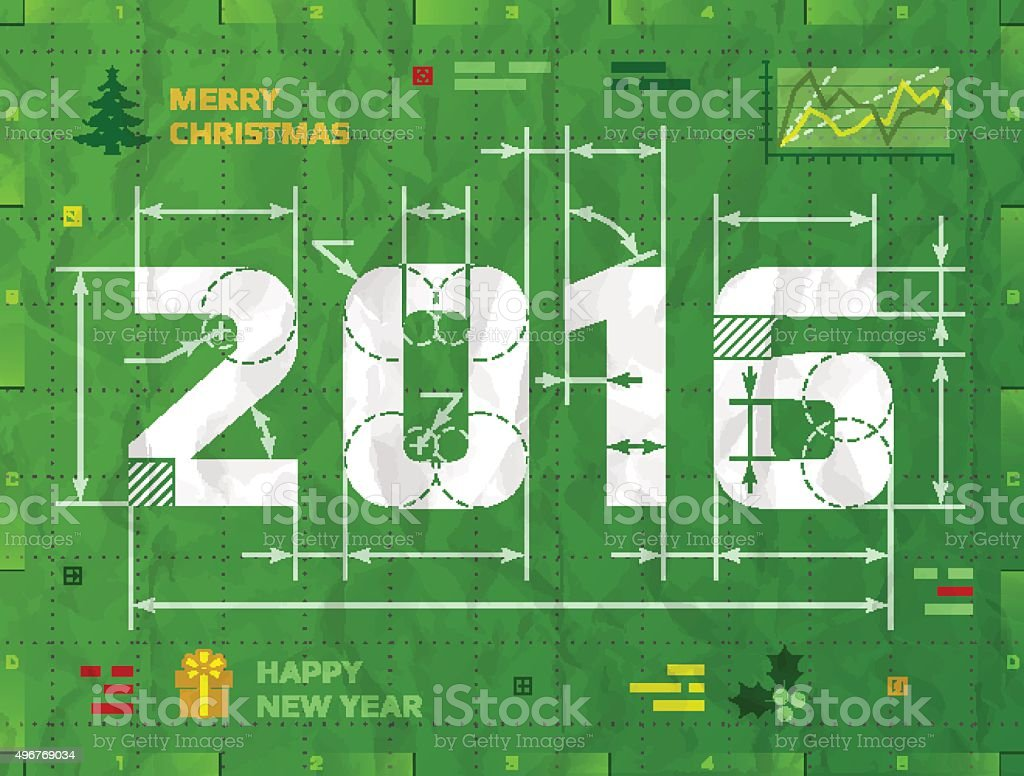 New Year 2016 as technical blueprint drawing vector art illustration