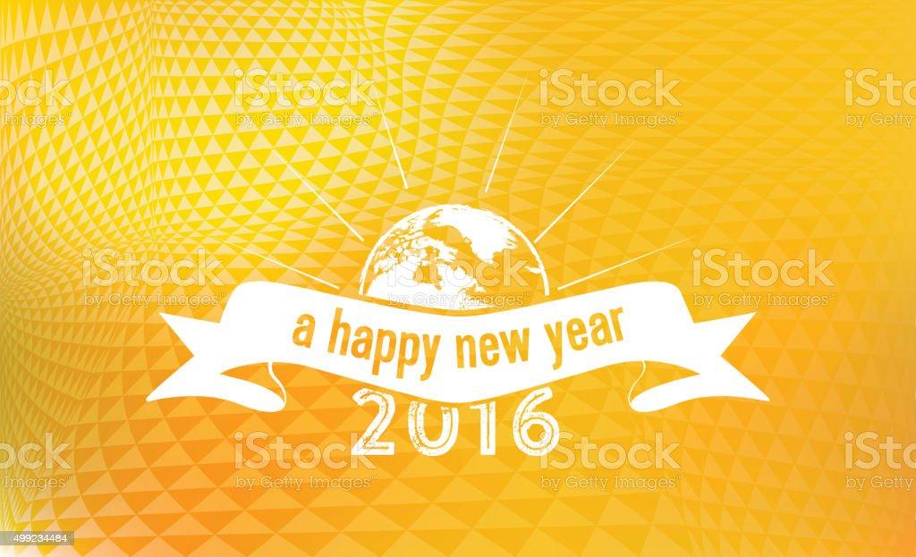 new year 2016 badge on golden vibrant background vector art illustration