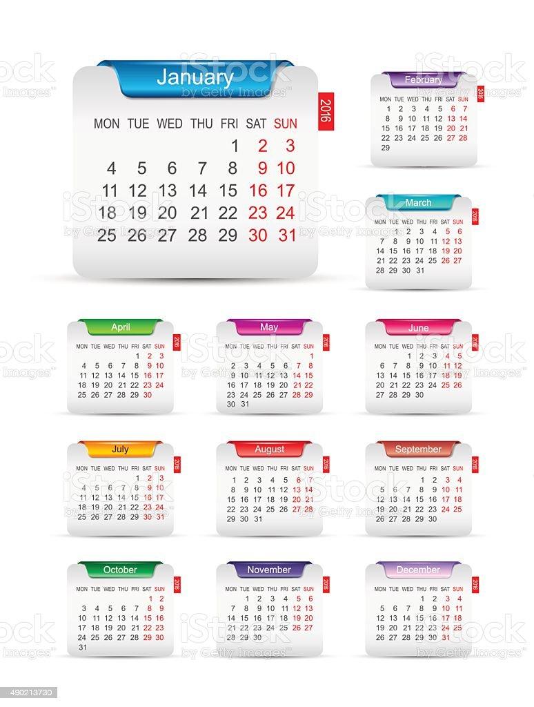New year 2016 calendar design vector art illustration
