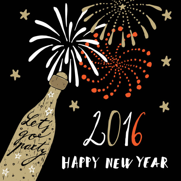 new year 2016 greeting card with champagne bottle fireworks vector vector art illustration