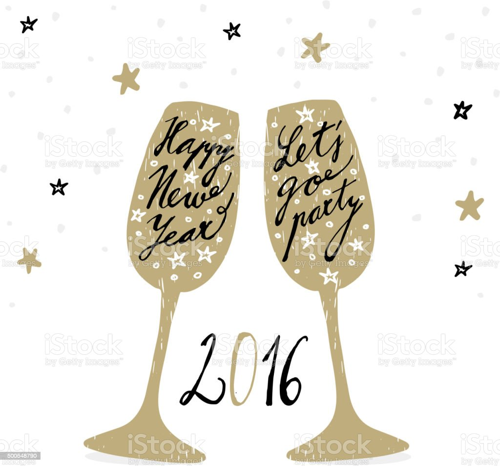New Year 2016 greeting card with wine glasses, vector vector art illustration