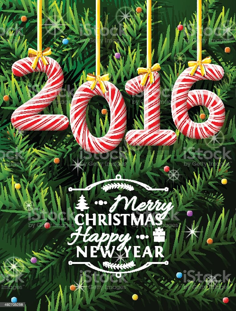 New Year 2016 in shape of candy stick, pine branches vector art illustration
