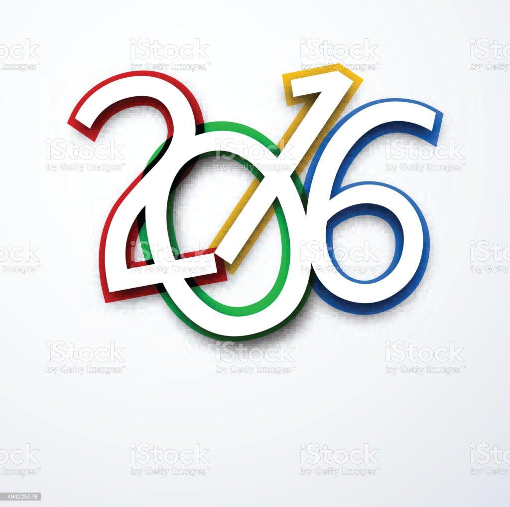 New Year 2016  sign vector art illustration