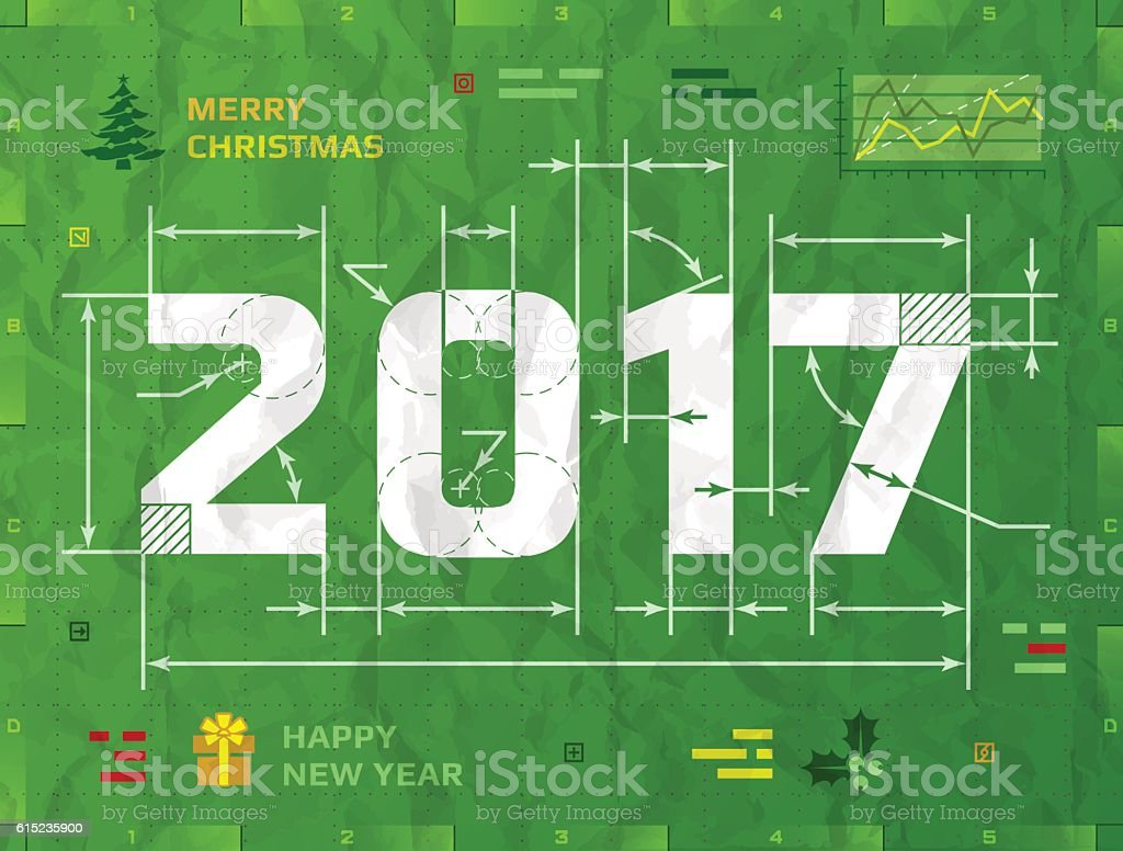 New Year 2017 as technical blueprint drawing vector art illustration