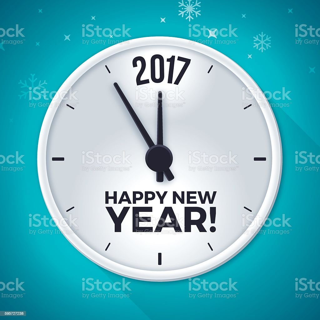 New Year 2017 Clock Time Symbol vector art illustration
