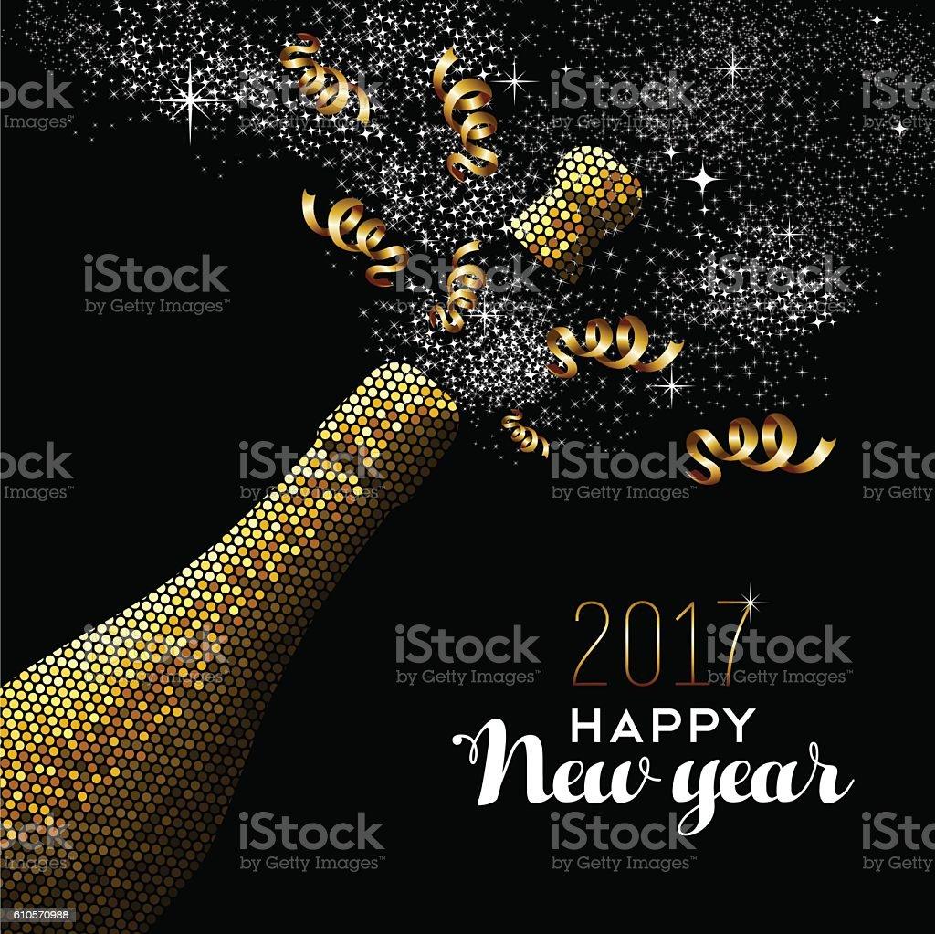 New Year 2017 gold drink bottle card design vector art illustration