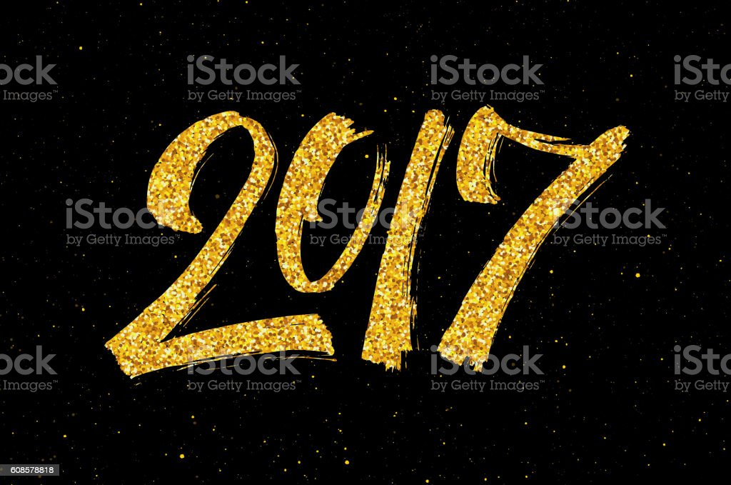 New Year 2017 greeting card with gold glittering vector art illustration