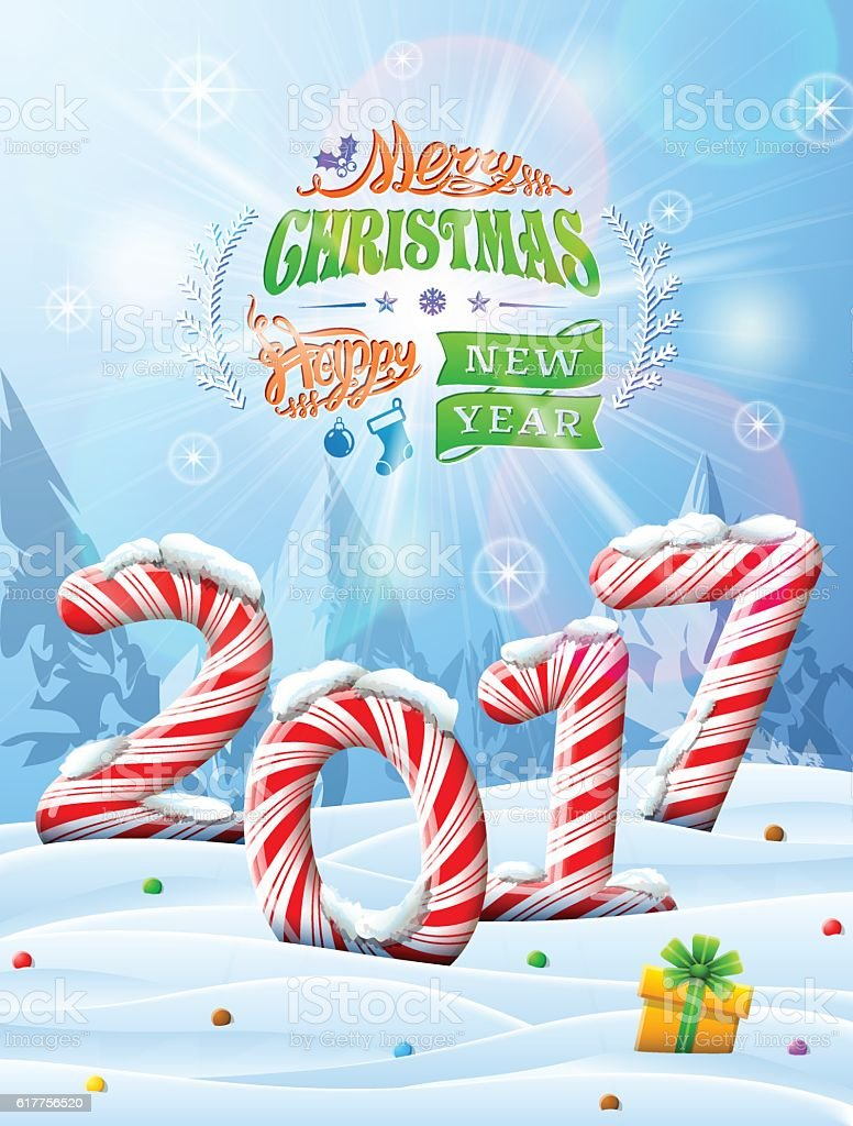 New Year 2017 in shape of candy stick in snow vector art illustration