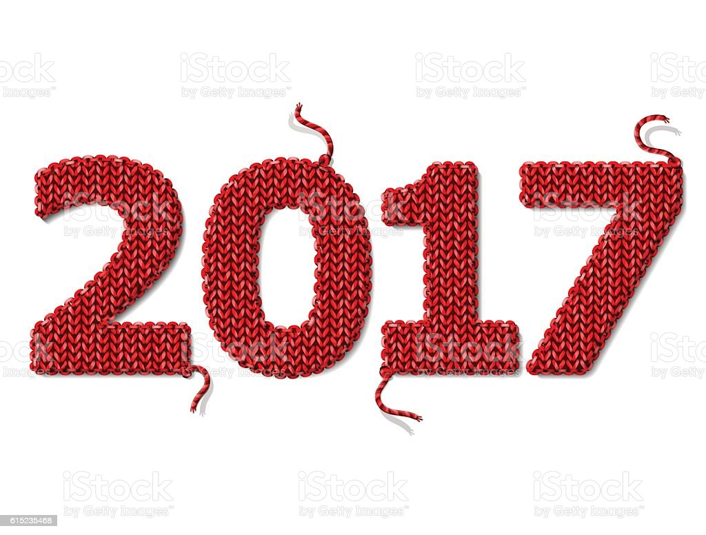 New Year 2017 of knitted fabric isolated on white background vector art illustration