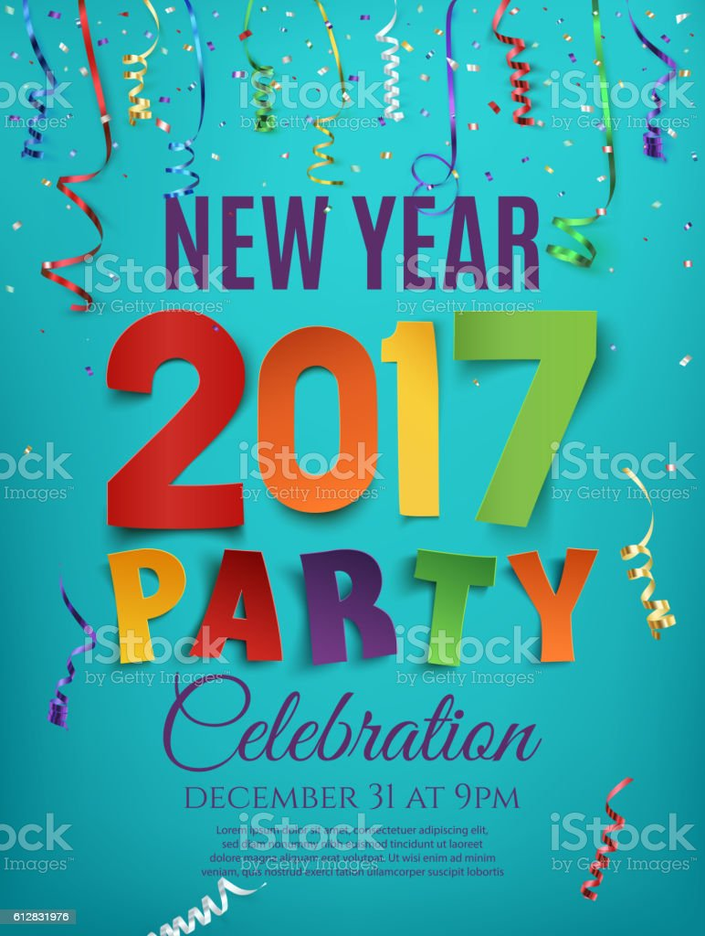 new year party poster template ribbons stock vector art 1 credit