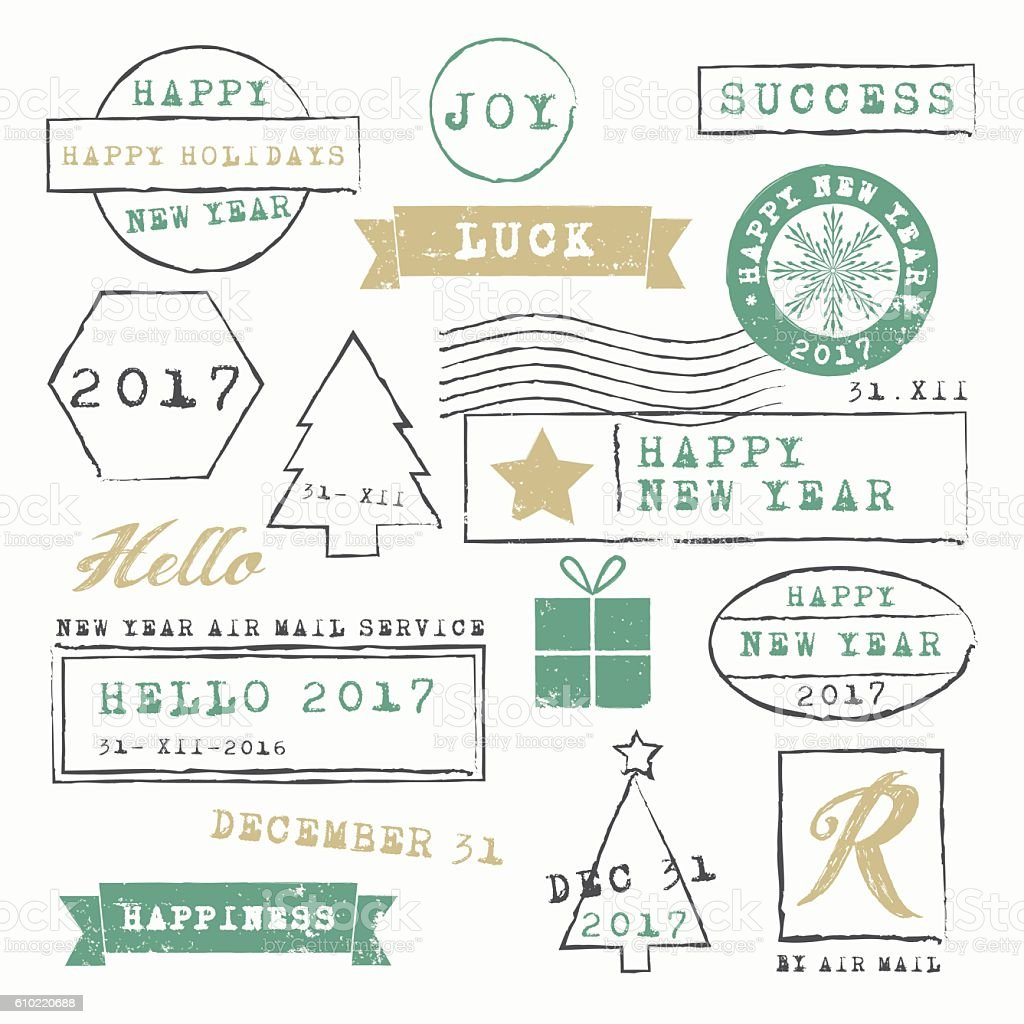 New Year 2017 Stamps Collection vector art illustration