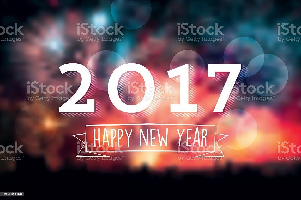 new year 2017 text symbol on blurred vibrant fireworks background vector art illustration