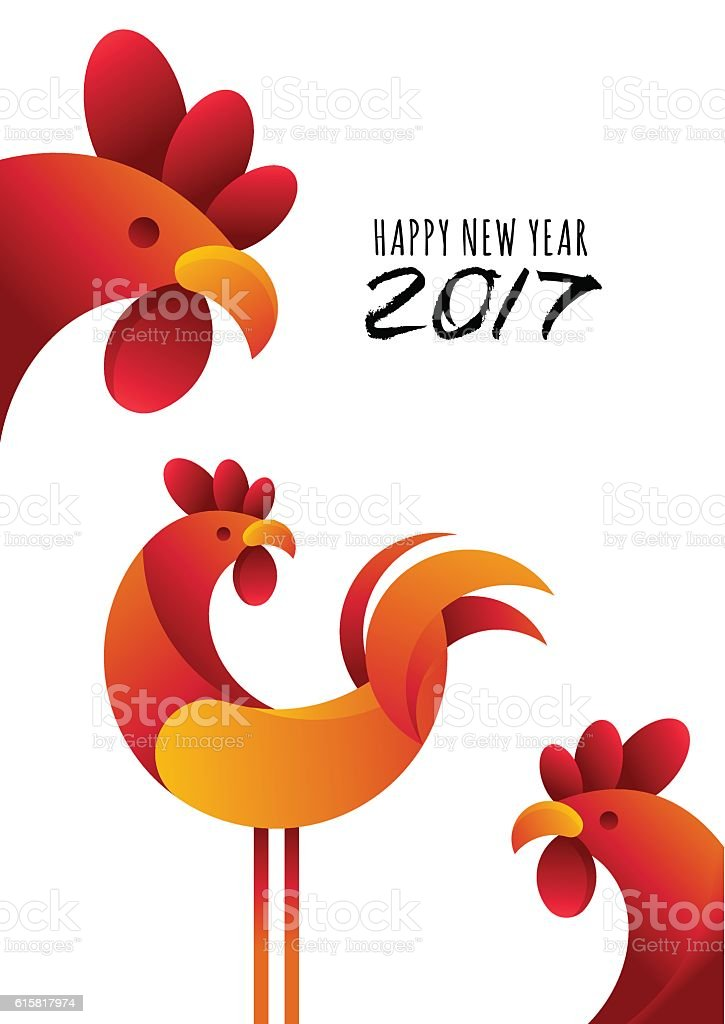 New Year 2017. Vector greeting card, poster, banner with rooster. vector art illustration