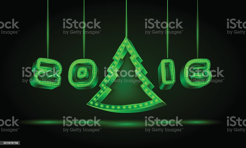 New Year 3D text with a Christmas tree. vector art illustration